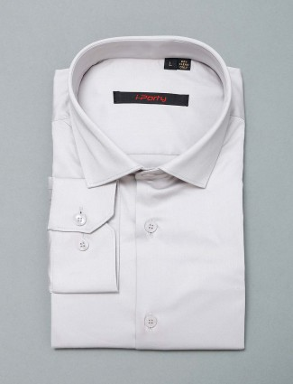 I Party party wear grey solid cotton shirt