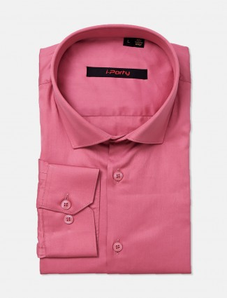 I Party pink solid cotton mens shirt