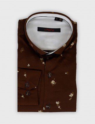 I Party printed brown party wear shirt
