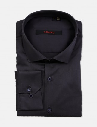 I Party solid dark grey cotton party wear shirt