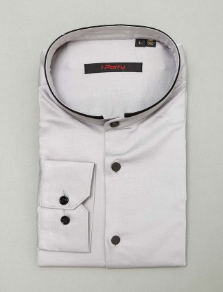 I Party solid grey hue cotton shirt