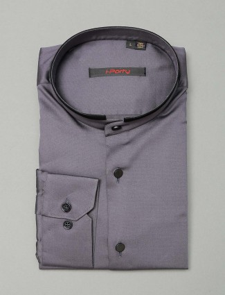 I Party solid grey party shirt for mens