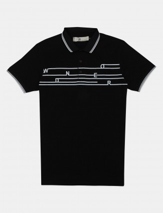I-Real black printed cotton casual polo t-shirt