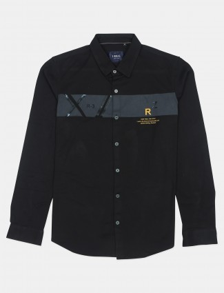 I-real printed style black cotton shirt for men