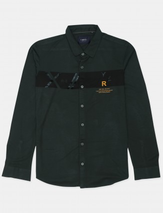 I-real printed style bottle green cotton shirt for men