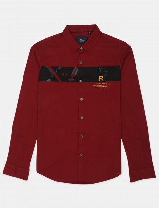 I-real printed style red hue cotton casual shirt