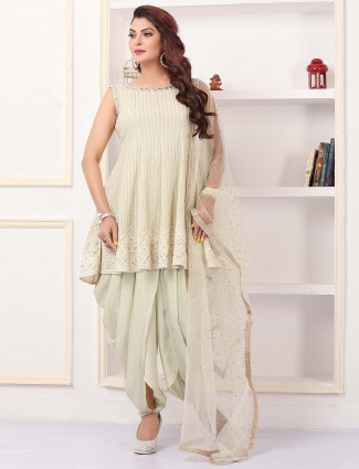 Iconic wedding wear pista green shade dhoti suit in gerogette