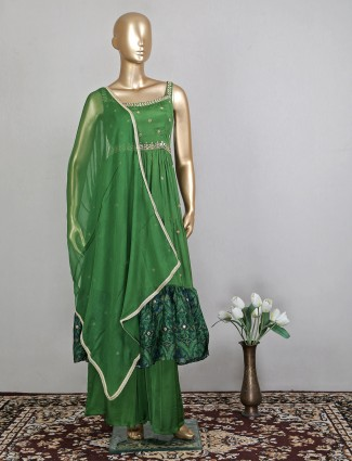 Idealistic green hue palazzo suit for party