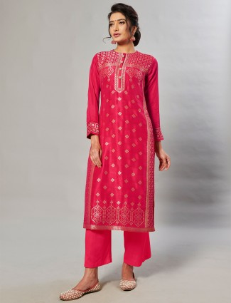 Idealistic magenta hue palazzo set for festive occasions