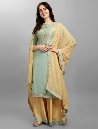 Idealistic pastel green hue silk palazzo set for festive occasions
