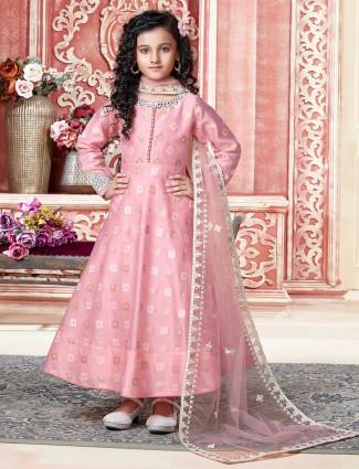Idealistic pink hue silk anarkali suit for girls