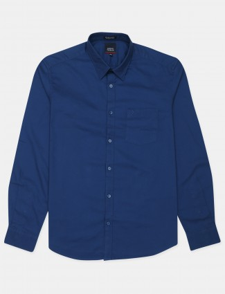 Indian Terrain casual wear navy blue shirt in solid style