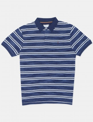 Indian terrain casual wear striped style blue t-shirt
