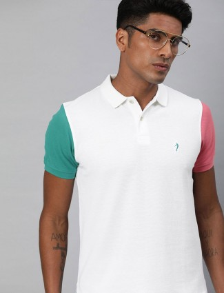 Indian Terrain casual wear white solid t-shirt