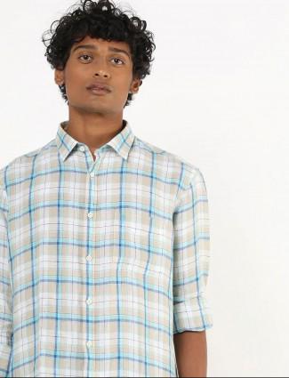 Indian Terrain full sleeves checks white shirt