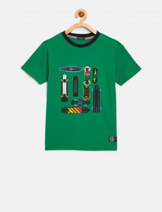 Indian Terrain green car printed t-shirt