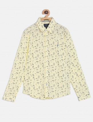 Indian Terrain lemon yellow printed shirt