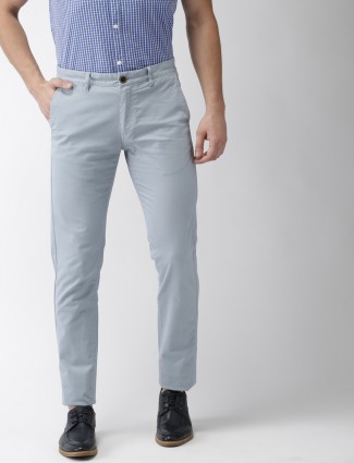 Indian Terrain light blue solid casual trouser
