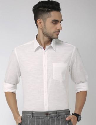 Indian Terrain linen white slim collar shirt
