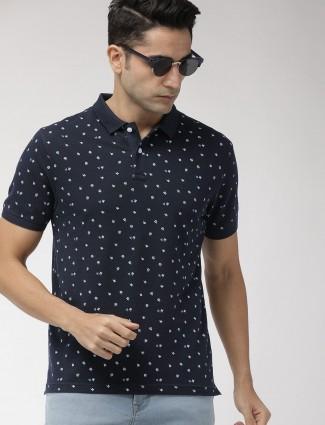 Indian Terrain navy printed half sleeves t-shirt