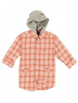 Indian Terrain peach checks hooded shirt
