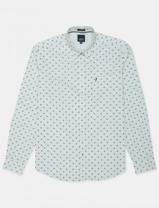 Indian Terrain printed white shirt for men in cotton