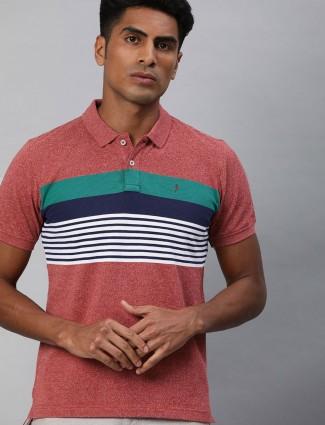 Indian Terrain red stripe mens t-shirt