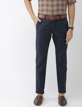 Indian Terrain solid navy cotton trouser