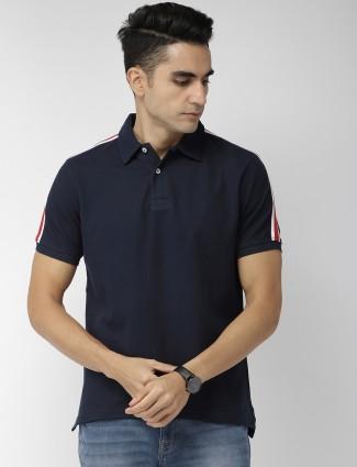 Indian Terrain solid navy hue cotton t-shirt