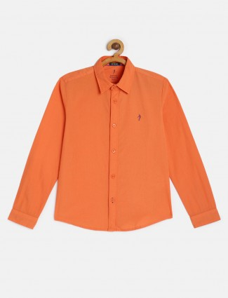 Indian Terrain solid orange slim fit shirt
