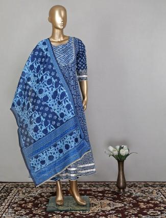 Indigo blue anarkali suit in cotton fabric