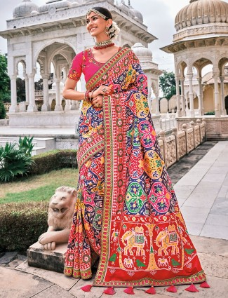 Indigo blue attirable wedding occasions patola silk saree