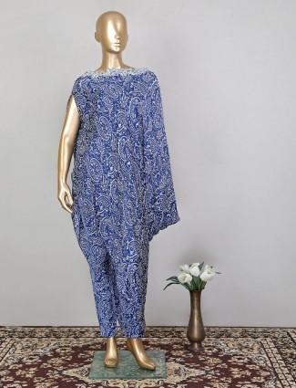 Indigo blue colored designer printed pant suit in satin