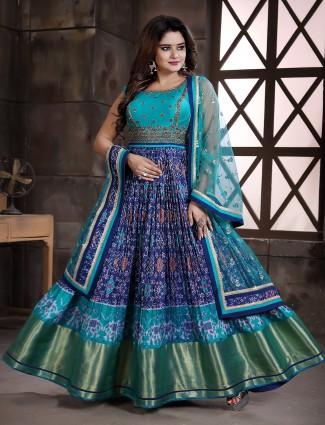 Indigo blue wedding occasion floor length anarkali suit in patola silk