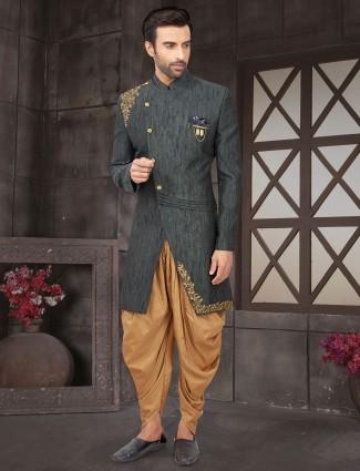 Indo western in dark grey cotton silk