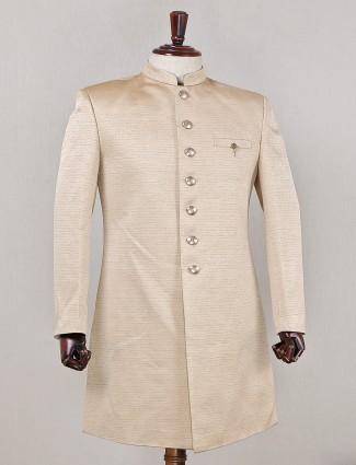 Indowestern beige sherwani for mens in silk