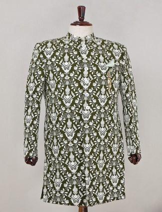 Indowestern designer wedding wear bottle green sherwani