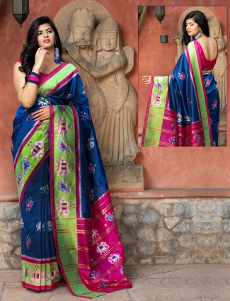 Ink blue patola silk wedding events printed saree for beautiful lady