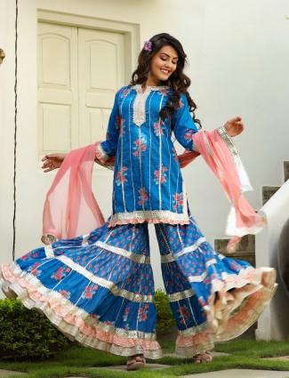 Ink blue printed punjabi style cotton festive ceremonies sharara suit
