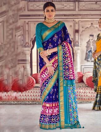 Ink blue wedding ceremonies saree in patola silk