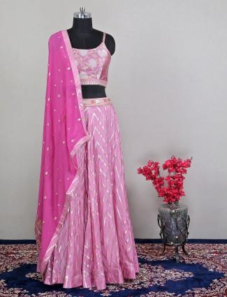 Innovative lehenga choli for wedding ceremonies in pink raw silk