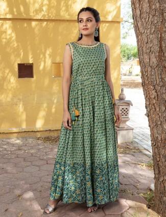 Innovative mint green casual wear printed kurti