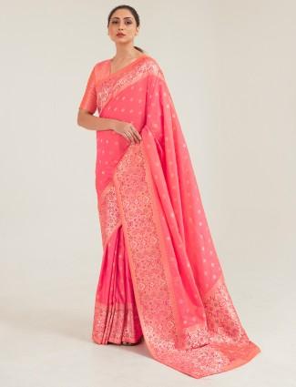 Innovative pink banarasi silk saree for wedding session