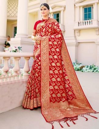 Innovative red banarasi silk saree for wedding occasions
