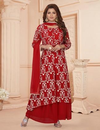 Innovative red georgette punjabi style festive wear palazzo suit