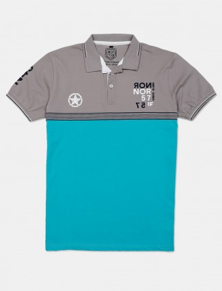 Instinto blue cotton solid polo casual t-shirt