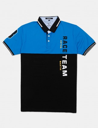 Instinto blue cotton solid polo t-shirt