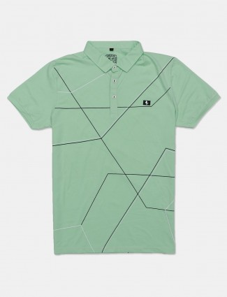 Instinto light green checks t-shirt