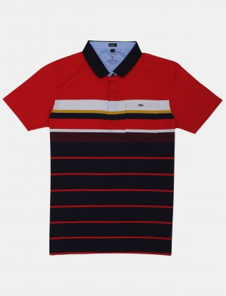 Instinto presented red stripe polo t-shirt