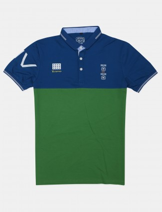 Instinto printed green casual polo t-shirt
